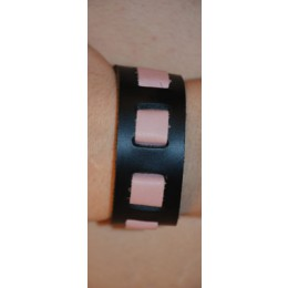 "Black/Rose Wrist Band, 1"" Wide with Rose weave"""