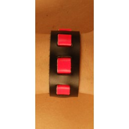 """Black/Pink Wrist Band, 1"""" Wide with Neon Pink weave"""""""