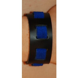 "Black/Blue Suede Wrist Band, 1"" Wide with Blue Suede weave"""