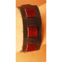 "Black/Burgundy Suede Wrist Band, 1"" Wide with Burgundy Suede wea"