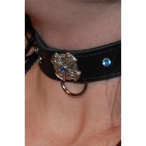 Cross Collar with Blue Gems