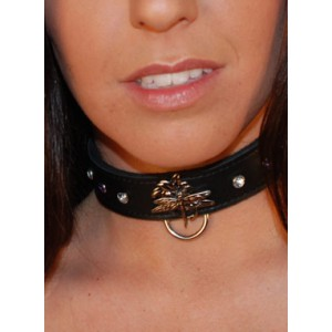 DragonFly Collar with Purple & Clear Gems