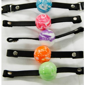 "Ball Gag 1 1/4"" Swirly Ball - Multiple Colors"""