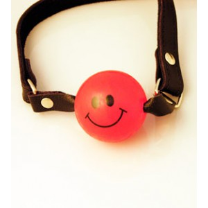 "Ball Gag 1 3/4"" Solid Color with Smiley Face - Various Colors"""