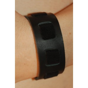 "Black/Black Suede Wrist Band, 1"" Wide with Black Suede weave"""