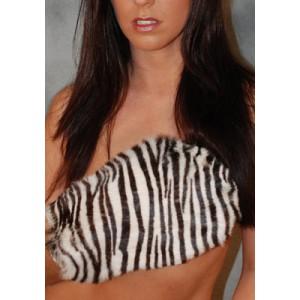 Bunny Fur Mitt - Zebra